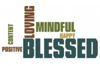 Words on a sign: Loving, Mindful, Blessed