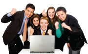Group of people around a computer