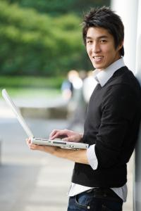 Male with computer