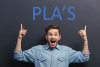"""Young Man pointing up to the phrase """"PLA's"""""""