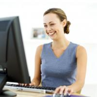 Female looking at a computer