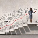 Woman on staircase leading up to success