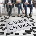 """Image of job seekers with the words """"career change"""" at their feet"""
