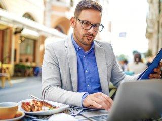 Professional businessman at a a laptop