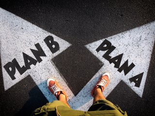 Plan A and Plan B paths marked on pavement
