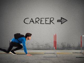 Young man racing towards a new career