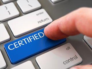 Certified tab on keyboard