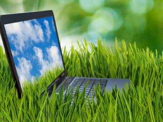 Laptop in a field of green grass