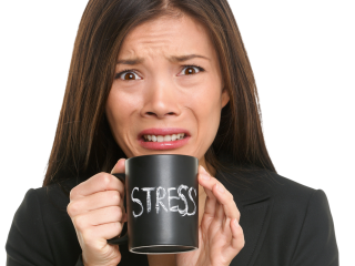 """Professional woman holding mug with the word """"stress"""" on it"""